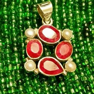 .925 Silver Ruby & Pearl Free-form Pendant